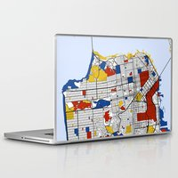 san francisco Laptop & iPad Skins featuring San Francisco by Mondrian Maps