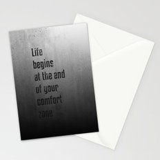 Life begins at the end of your comfort zone - Motivational poster Stationery Cards