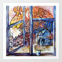 Firehorse at my window Art Print