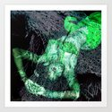 Oriental beautie - green Art Print