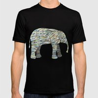 Elephant Paper Collage in Gray, Aqua and Seafoam Mens Fitted Tee Black SMALL