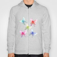 Butterfly pink azalea in pastel color stripes background. Floral botanical graphic art. Hoody