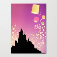 Pixar Tangled Castle Print with Lanterns Canvas Print