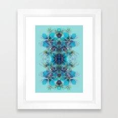 Blue fireworks Framed Art Print