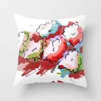 Saturated Flowers Throw Pillow