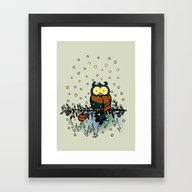 Owl In The Snow V2 Framed Art Print