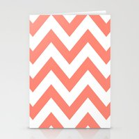 CORAL CHEVRON Stationery Cards