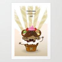 Ice Cream Chestnut Girl Art Print