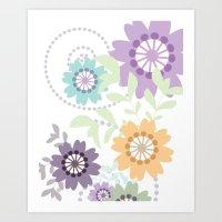 Flowers And Swirls Art Print