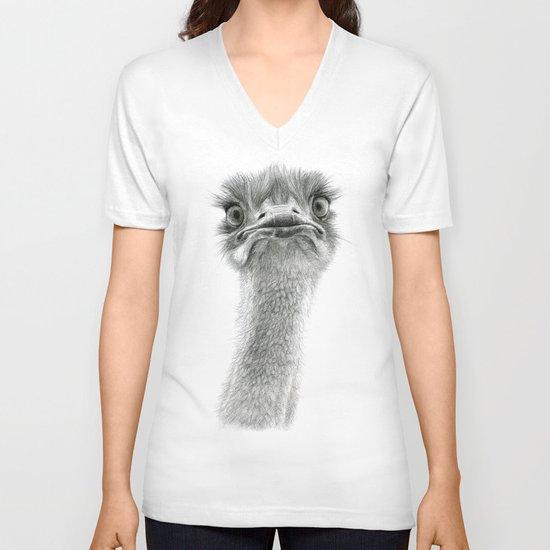 Cute Ostrich SK053 V-neck T-shirt