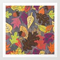 Autumn Leaves Pattern Art Print