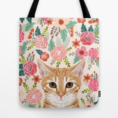Tabby Cat florals cute spring garden kitten orange tabby cat lady funny girly cat art pet gifts  Tote Bag