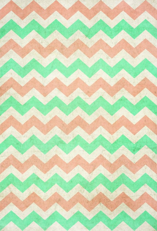 coral mint chevron Art Print