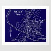 Vintage Austin Blue Art Print