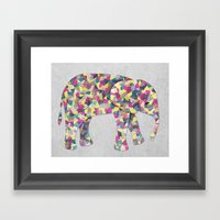 Elephant Collage In Gray… Framed Art Print