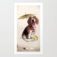 Tessi the party Beagle Art Print