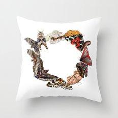 Moth Wreath Throw Pillow