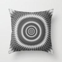 Monochrome Rings Throw Pillow