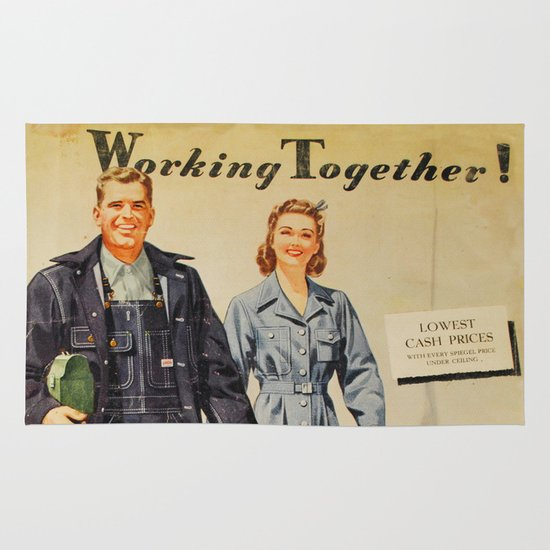 1942 Working Together Cover Area & Throw Rug