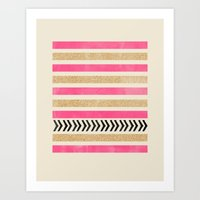 PINK AND GOLD STRIPES AN… Art Print