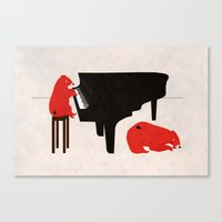 A Sleepy bear playing piano Canvas Print