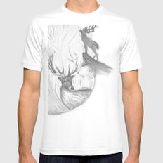 Stag and man White SMALL Mens Fitted Tee