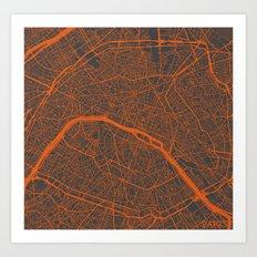 Paris Map #4 Art Print