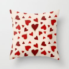 Ditsy dark hearts for lovers Throw Pillow