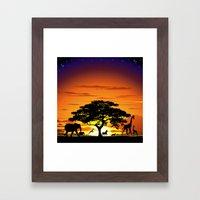 Wild Animals on African Savanna Sunset  Framed Art Print