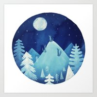 Goodnight Wolf Art Print