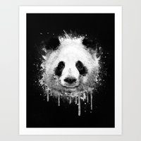 Cool Abstract Graffiti Watercolor Panda Portrait in Black & White  Art Print