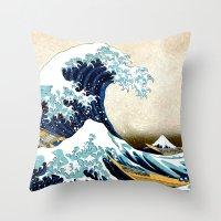 Kanagawa Oiled Throw Pillow