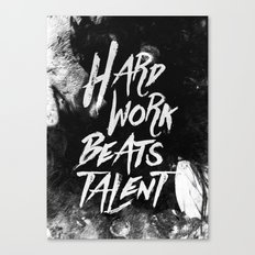 Inspirational typographic quote Hard Work Beats Talent Canvas Print