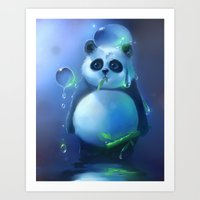 aqua panda Art Print