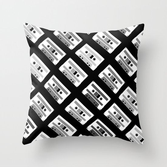 Black and White Tapes 45 Throw Pillow