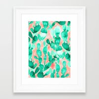 Paddle Cactus Blush Framed Art Print