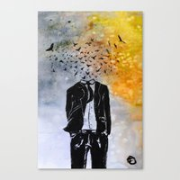 Man-Birds Canvas Print
