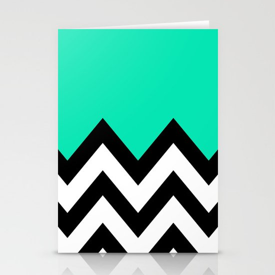 TEAL COLORBLOCK CHEVRON Stationery Card