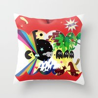 the world inside the apple  Throw Pillow
