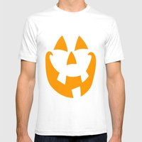 Pumpkin Face Mens Fitted Tee White SMALL
