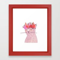 Cat with Floral Crown Framed Art Print