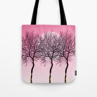 Triplet Trees In Pink Tote Bag