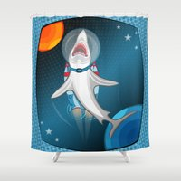 Shark In Space Shower Curtain