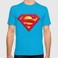 Superman logo Mens Fitted Tee Teal SMALL