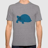 Turtle Illustration Blue Mens Fitted Tee Athletic Grey SMALL