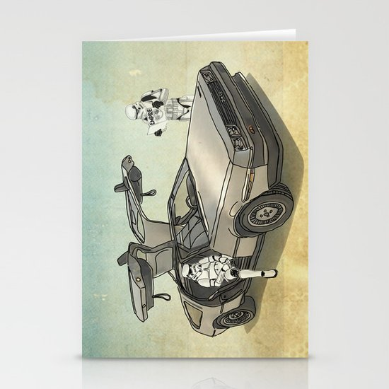 Lost, searching for the DeathStarr _ 2 Stormtrooopers in a DeLorean  Stationery Card
