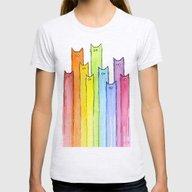 Cat Rainbow Watercolor P… Womens Fitted Tee Ash Grey MEDIUM