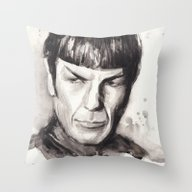 Throw Pillow featuring Spock by Olechka