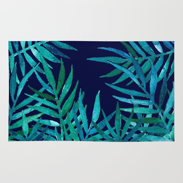 watercolor palm leaves on navy rug by micklyn society6. Black Bedroom Furniture Sets. Home Design Ideas