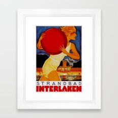 Vintage Interlaken Switzerland Travel Framed Art Print